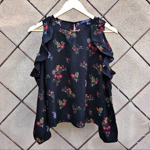 Floral Cold Shoulder Ruffle Long Sleeve Top XS